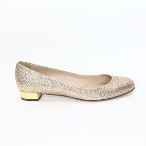 J Crew Janey Glitter Ballet Flats sz 9 NEW Gold